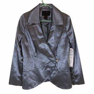 Ashro brand slate blue satin dinner jacket size 10